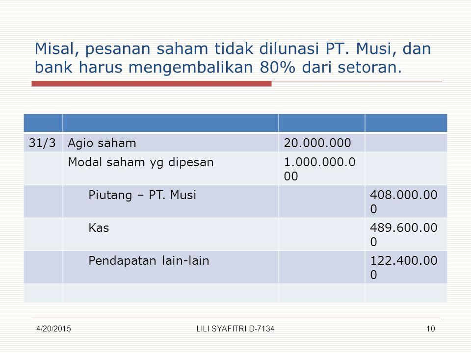 Misal, pesanan saham tidak dilunasi PT.Musi, dan bank harus mengembalikan 80% dari setoran.