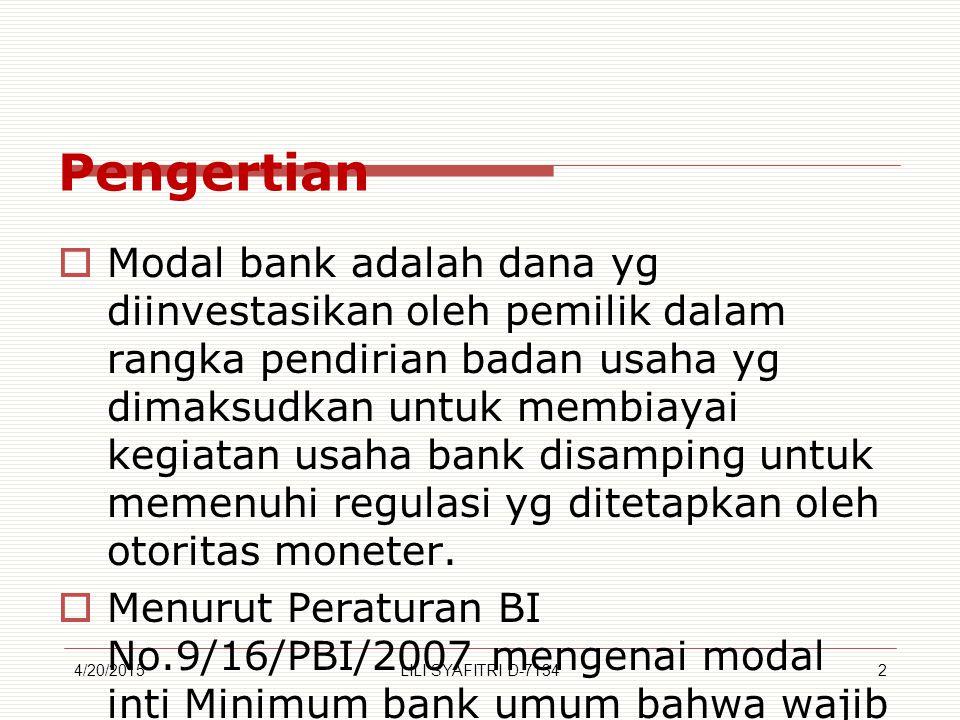 Pengertian  Modal bank adalah dana yg diinvestasikan oleh pemilik dalam rangka pendirian badan usaha yg dimaksudkan untuk membiayai kegiatan usaha bank disamping untuk memenuhi regulasi yg ditetapkan oleh otoritas moneter.