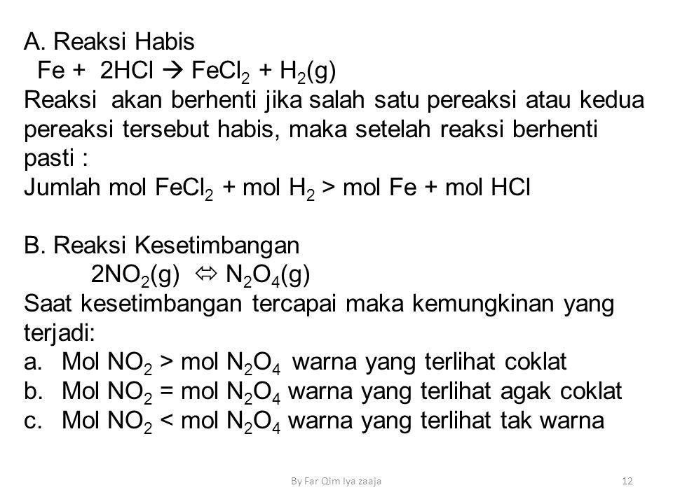 A. Reaksi Habis Fe + 2HCl  FeCl 2 + H 2 (g) Reaksi akan berhenti jika salah satu pereaksi atau kedua pereaksi tersebut habis, maka setelah reaksi ber