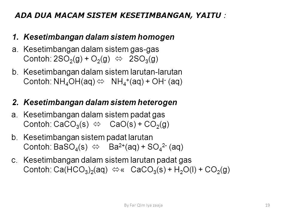 1.Kesetimbangan dalam sistem homogen a.Kesetimbangan dalam sistem gas-gas Contoh: 2SO 2 (g) + O 2 (g)  2SO 3 (g) b.Kesetimbangan dalam sistem larutan-larutan Contoh: NH 4 OH(aq)  NH 4 + (aq) + OH - (aq) 2.Kesetimbangan dalam sistem heterogen a.Kesetimbangan dalam sistem padat gas Contoh: CaCO 3 (s)  CaO(s) + CO 2 (g) b.Kesetimbangan sistem padat larutan Contoh: BaSO 4 (s)  Ba 2+ (aq) + SO 4 2- (aq) c.Kesetimbangan dalam sistem larutan padat gas Contoh: Ca(HCO 3 ) 2 (aq)  « CaCO 3 (s) + H 2 O(l) + CO 2 (g) ADA DUA MACAM SISTEM KESETIMBANGAN, YAITU : 19By Far Qim Iya zaaja