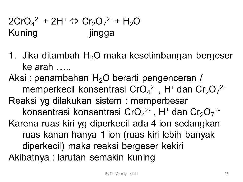2CrO 4 2- + 2H +  Cr 2 O 7 2- + H 2 O Kuning jingga 1.Jika ditambah H 2 O maka kesetimbangan bergeser ke arah …..