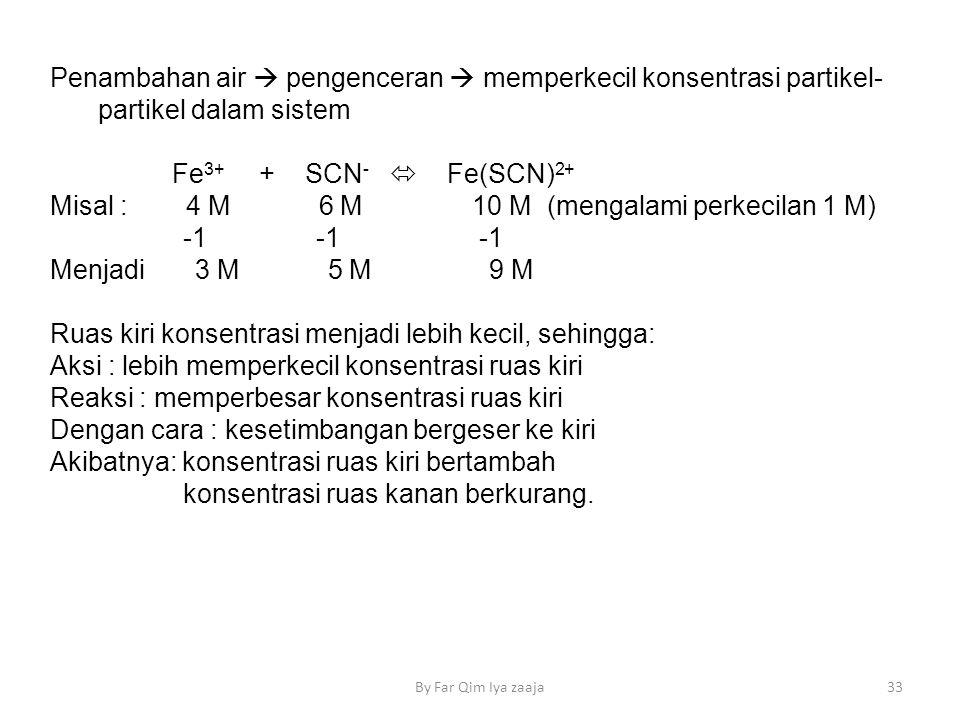 Penambahan air  pengenceran  memperkecil konsentrasi partikel- partikel dalam sistem Fe 3+ + SCN -  Fe(SCN) 2+ Misal : 4 M 6 M 10 M (mengalami perkecilan 1 M) -1 -1 -1 Menjadi 3 M 5 M 9 M Ruas kiri konsentrasi menjadi lebih kecil, sehingga: Aksi : lebih memperkecil konsentrasi ruas kiri Reaksi : memperbesar konsentrasi ruas kiri Dengan cara : kesetimbangan bergeser ke kiri Akibatnya: konsentrasi ruas kiri bertambah konsentrasi ruas kanan berkurang.