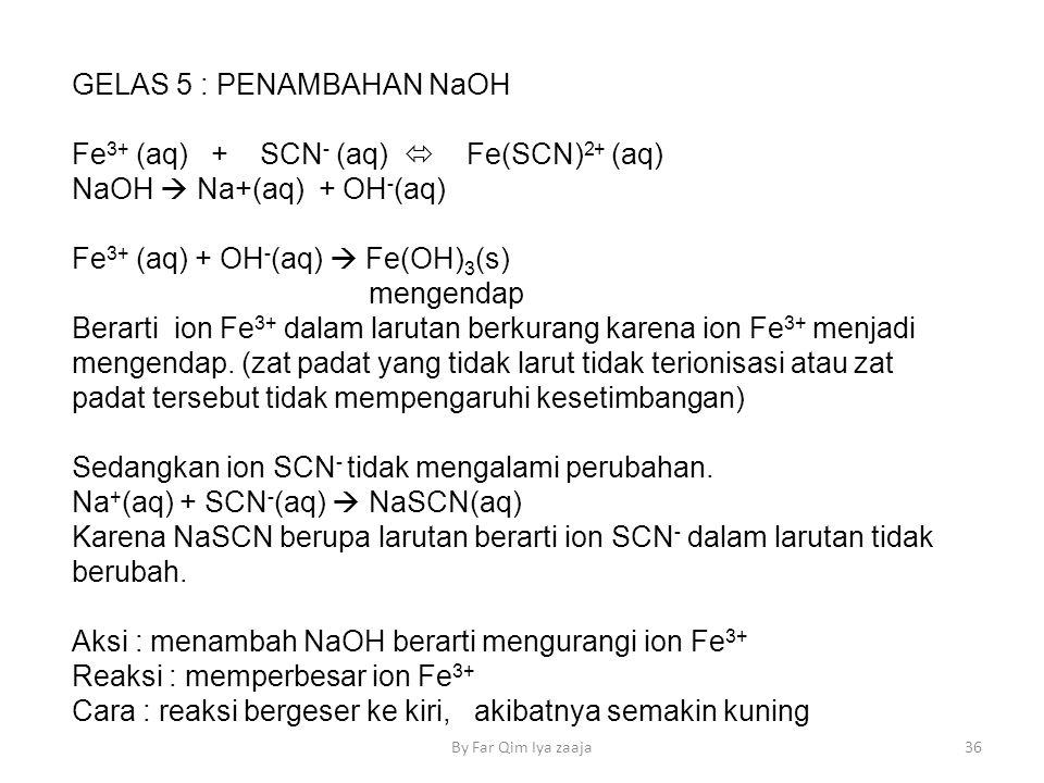 GELAS 5 : PENAMBAHAN NaOH Fe 3+ (aq) + SCN - (aq)  Fe(SCN) 2+ (aq) NaOH  Na+(aq) + OH - (aq) Fe 3+ (aq) + OH - (aq)  Fe(OH) 3 (s) mengendap Berarti ion Fe 3+ dalam larutan berkurang karena ion Fe 3+ menjadi mengendap.