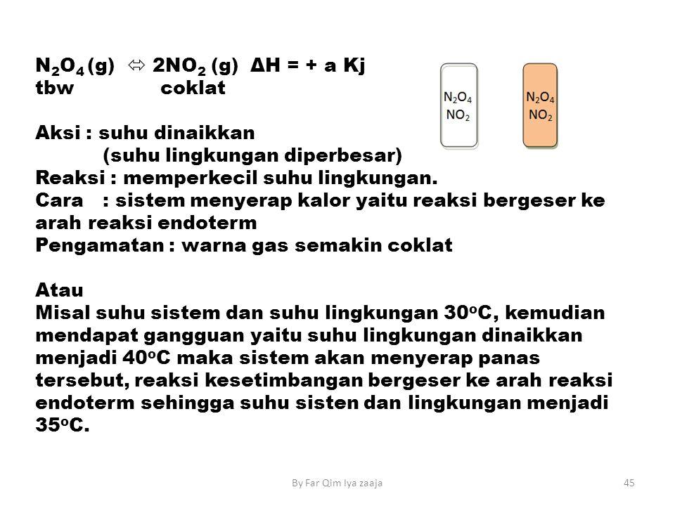 N 2 O 4 (g)  2NO 2 (g) ΔH = + a Kj tbw coklat Aksi : suhu dinaikkan (suhu lingkungan diperbesar) Reaksi : memperkecil suhu lingkungan.