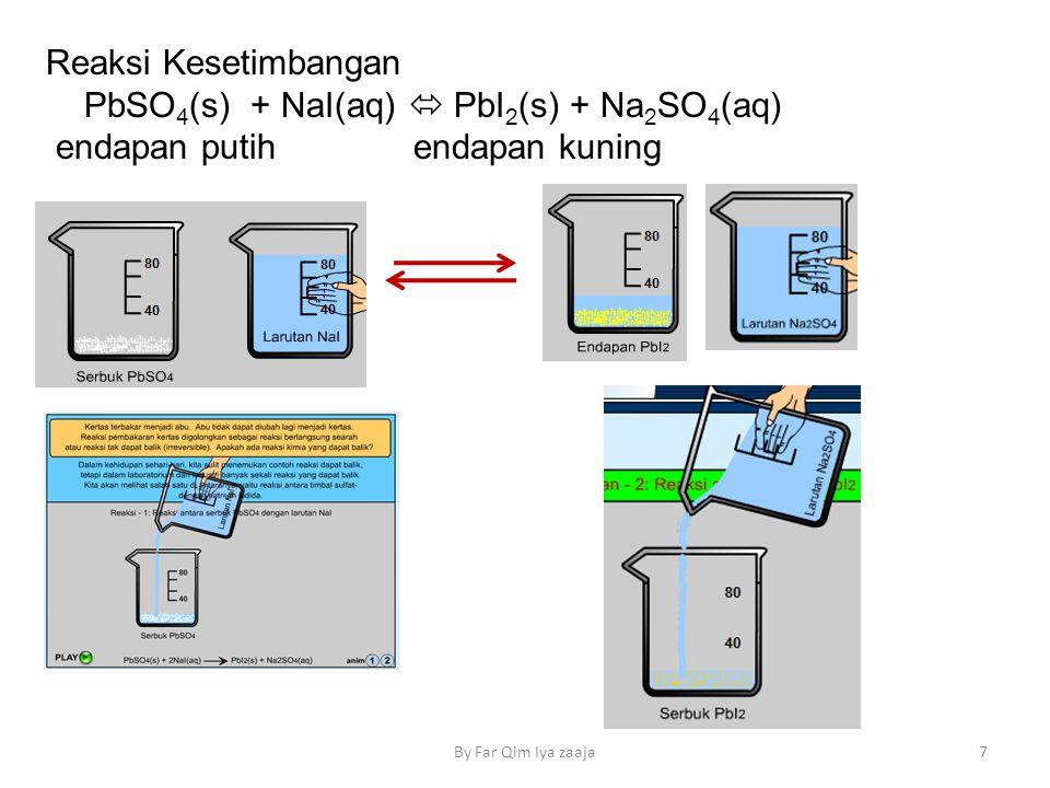 By Far Qim Iya zaaja7 Reaksi Kesetimbangan PbSO 4 (s) + NaI(aq)  PbI 2 (s) + Na 2 SO 4 (aq) endapan putih endapan kuning