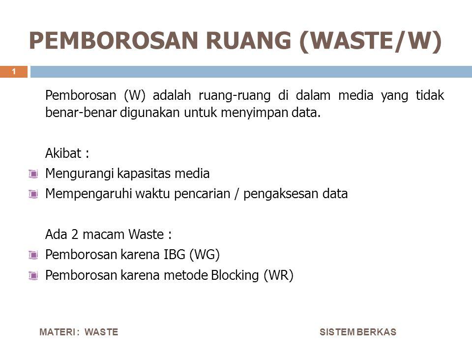 PEMBOROSAN RUANG (WASTE/W) SISTEM BERKAS 1 Pemborosan (W) adalah ruang-ruang di dalam media yang tidak benar-benar digunakan untuk menyimpan data. Aki