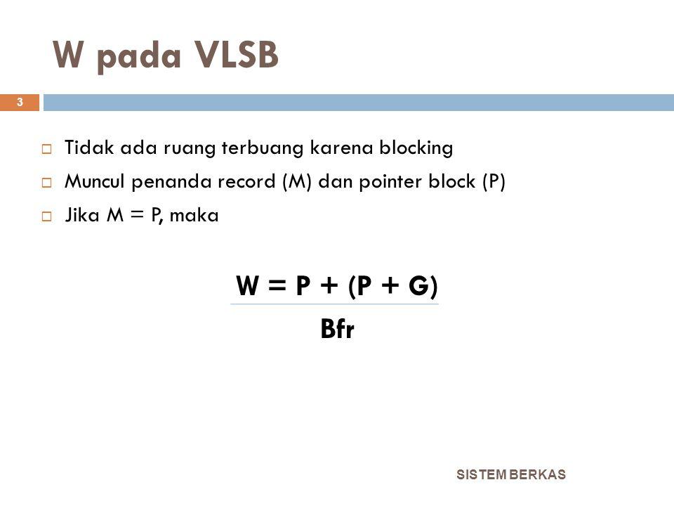 W pada VLUB SISTEM BERKAS 4  Ada ruang terbuang  Ada penanda record  Jika M = P, maka W = P + (½ R + G) Bfr