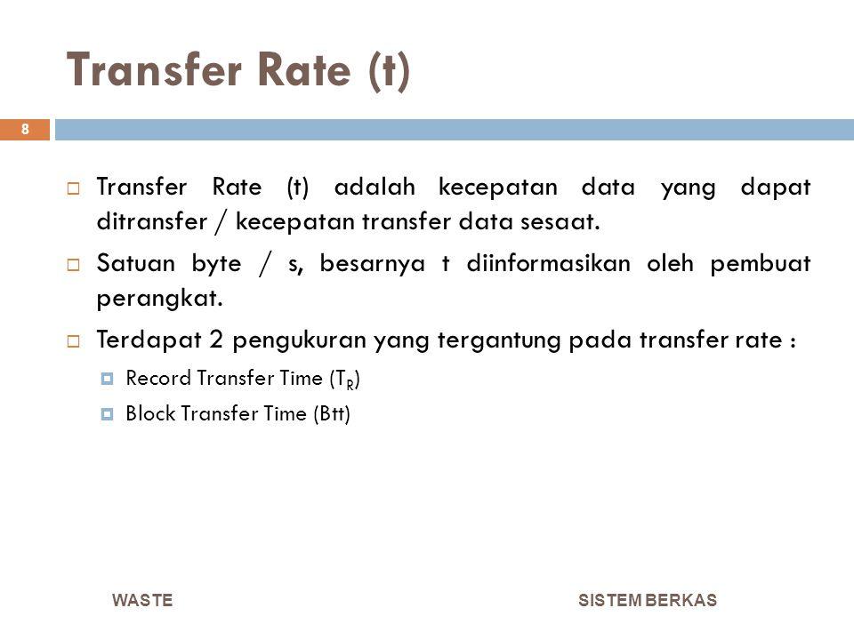Transfer Rate SISTEM BERKAS 9  T R adalah waktu transfer record dengan panjang R, dimana T R = R / t  Btt adalah waktu transfer block dengan besar B, dimana Btt = B / t  Satuan T R dan Btt adalah milisecond WASTE
