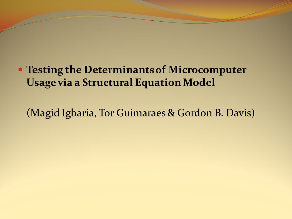 Testing the Determinants of Microcomputer Usage via a Structural Equation Model (Magid Igbaria, Tor Guimaraes & Gordon B. Davis)