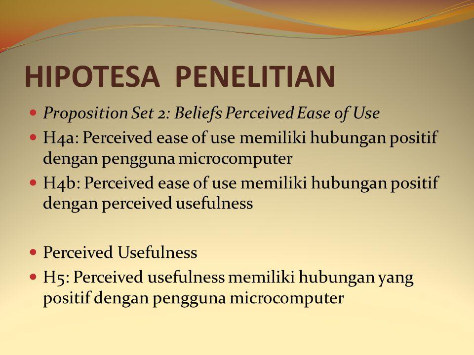HIPOTESA PENELITIAN Proposition Set 2: Beliefs Perceived Ease of Use H4a: Perceived ease of use memiliki hubungan positif dengan pengguna microcompute