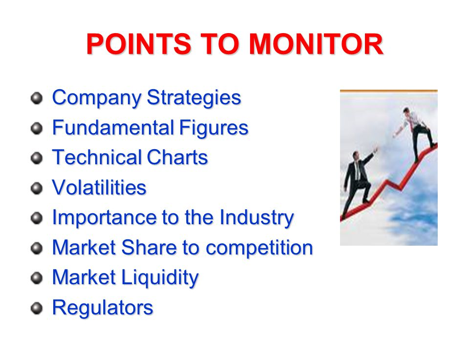 POINTS TO MONITOR Company Strategies Company Strategies Fundamental Figures Fundamental Figures Technical Charts Technical Charts Volatilities Volatilities Importance to the Industry Importance to the Industry Market Share to competition Market Share to competition Market Liquidity Market Liquidity Regulators Regulators