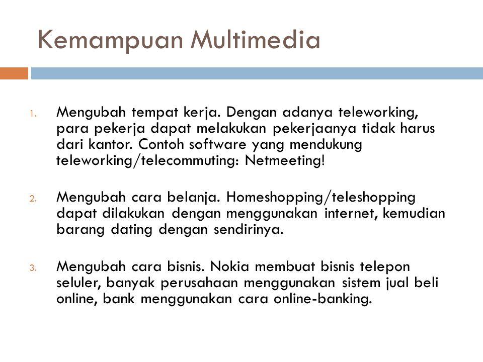 Kemampuan Multimedia 1. Mengubah tempat kerja. Dengan adanya teleworking, para pekerja dapat melakukan pekerjaanya tidak harus dari kantor. Contoh sof