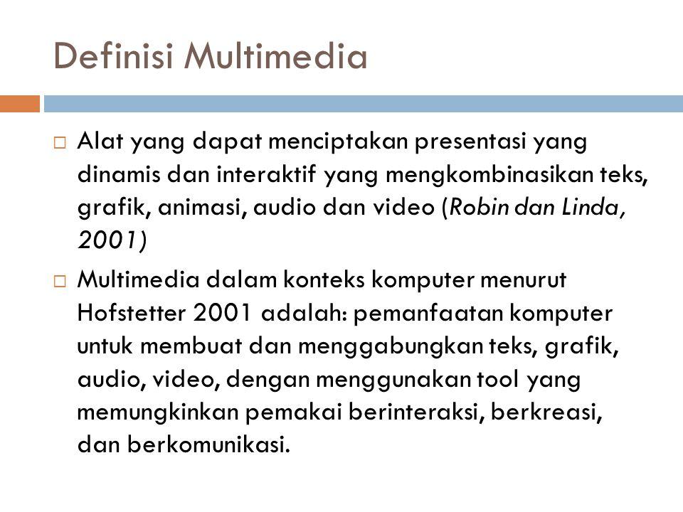 Definisi Multimedia  Alat yang dapat menciptakan presentasi yang dinamis dan interaktif yang mengkombinasikan teks, grafik, animasi, audio dan video