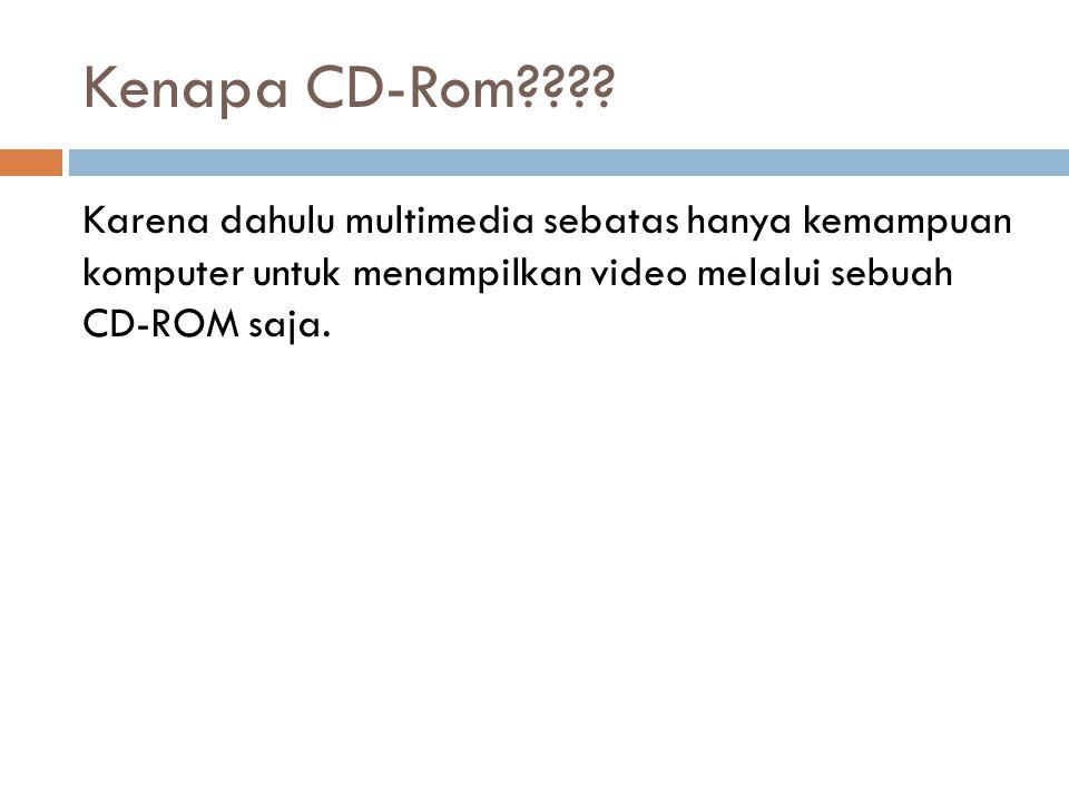 Kenapa CD-Rom???? Karena dahulu multimedia sebatas hanya kemampuan komputer untuk menampilkan video melalui sebuah CD-ROM saja.