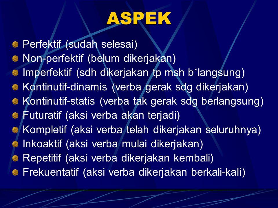 ASPEK Perfektif (sudah selesai) Non-perfektif (belum dikerjakan) Imperfektif (sdh dikerjakan tp msh b ' langsung) Kontinutif-dinamis (verba gerak sdg