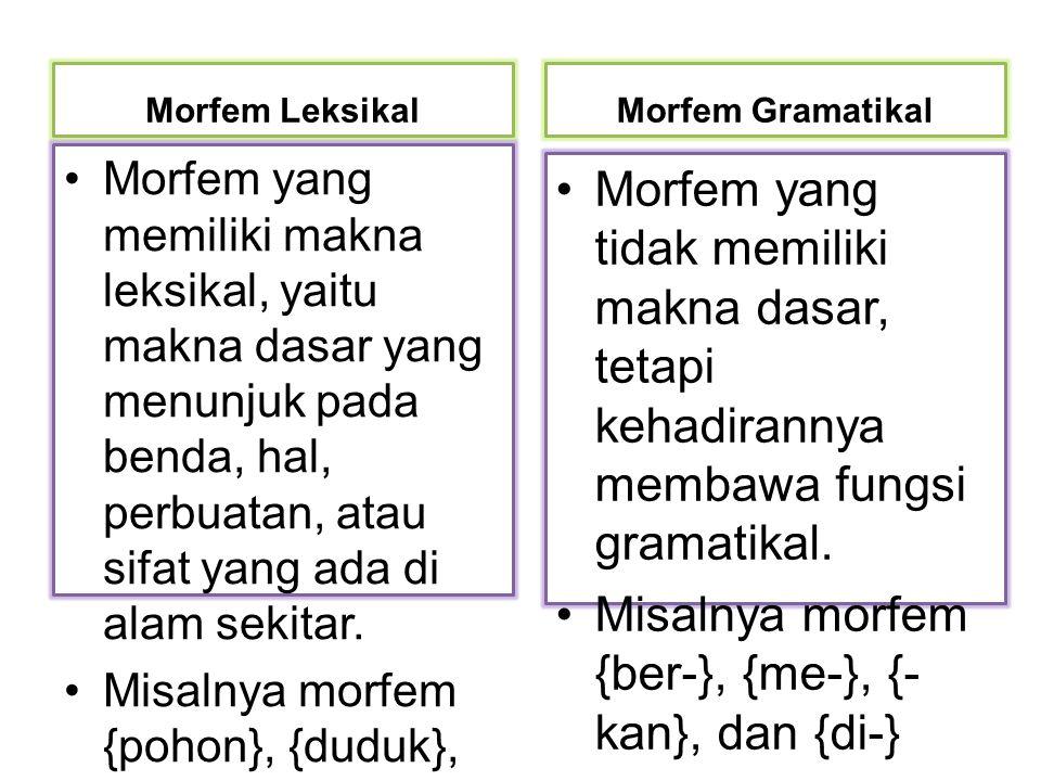 Morfem Leksikal Morfem yang memiliki makna leksikal, yaitu makna dasar yang menunjuk pada benda, hal, perbuatan, atau sifat yang ada di alam sekitar.