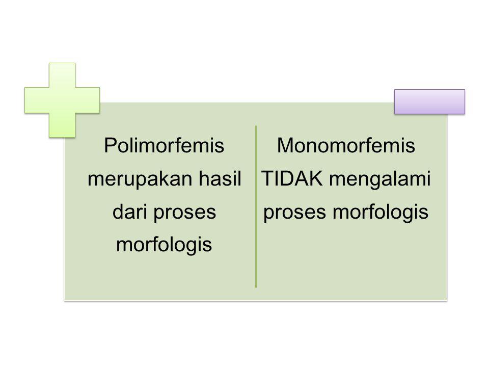 Polimorfemis merupakan hasil dari proses morfologis Monomorfemis TIDAK mengalami proses morfologis
