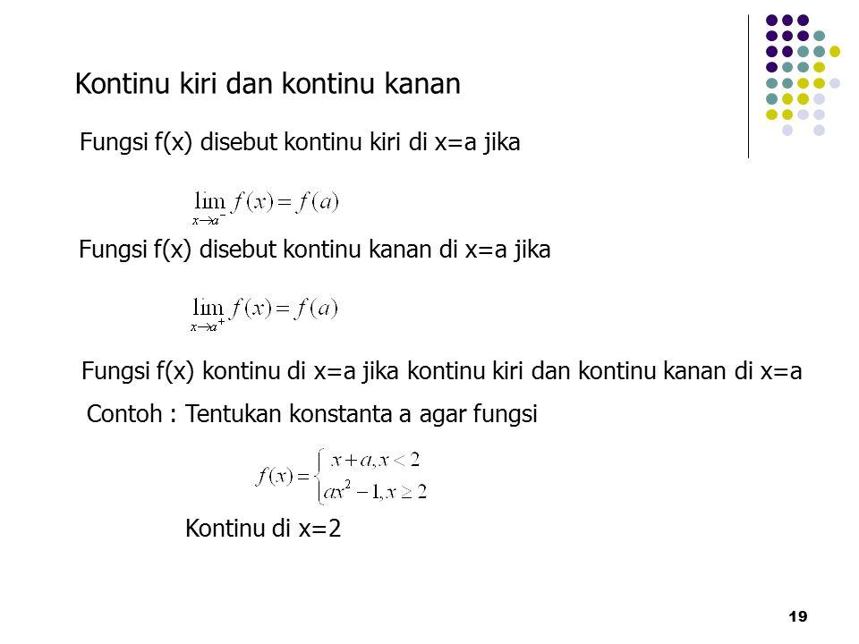 19 Kontinu kiri dan kontinu kanan Fungsi f(x) disebut kontinu kiri di x=a jika Fungsi f(x) disebut kontinu kanan di x=a jika Fungsi f(x) kontinu di x=