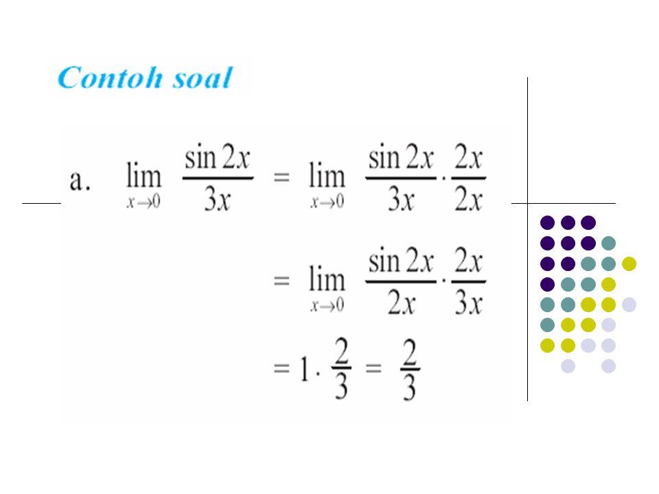 19 Kontinu kiri dan kontinu kanan Fungsi f(x) disebut kontinu kiri di x=a jika Fungsi f(x) disebut kontinu kanan di x=a jika Fungsi f(x) kontinu di x=a jika kontinu kiri dan kontinu kanan di x=a Contoh : Tentukan konstanta a agar fungsi Kontinu di x=2