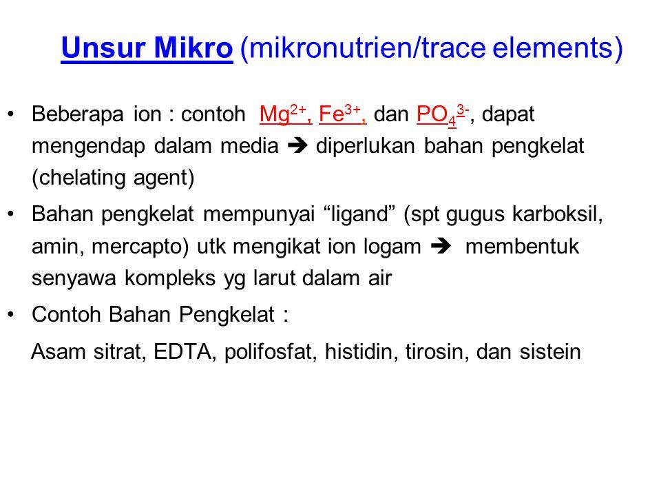 Unsur Mikro (mikronutrien/trace elements) Beberapa ion : contoh Mg 2+, Fe 3+, dan PO 4 3-, dapat mengendap dalam media  diperlukan bahan pengkelat (c