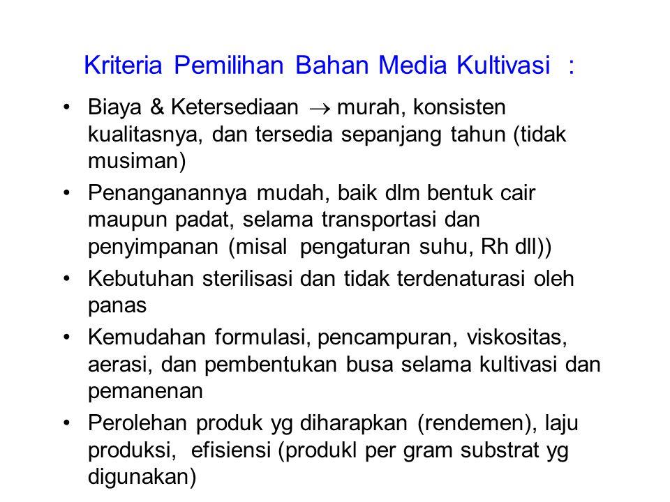 Kriteria Pemilihan Bahan Media Kultivasi : Biaya & Ketersediaan  murah, konsisten kualitasnya, dan tersedia sepanjang tahun (tidak musiman) Penangana