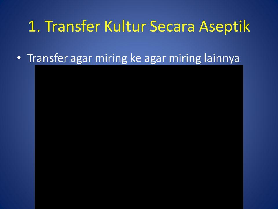 Transfer agar plate ke agar miring 1. Transfer Kultur Secara Aseptik
