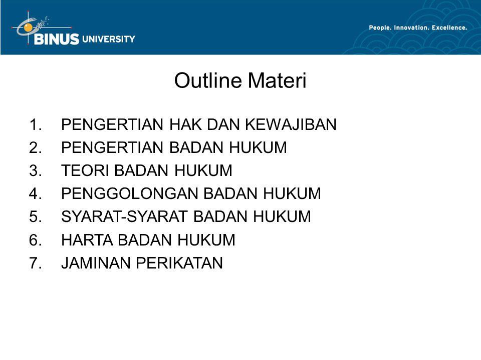 Outline Materi 1.PENGERTIAN HAK DAN KEWAJIBAN 2.PENGERTIAN BADAN HUKUM 3.TEORI BADAN HUKUM 4.PENGGOLONGAN BADAN HUKUM 5.SYARAT-SYARAT BADAN HUKUM 6.HARTA BADAN HUKUM 7.JAMINAN PERIKATAN