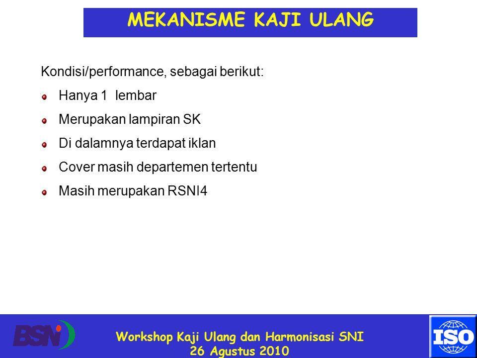 Workshop Kaji Ulang dan Harmonisasi SNI 26 Agustus 2010 Kondisi/performance, sebagai berikut: Hanya 1 lembar Merupakan lampiran SK Di dalamnya terdapat iklan Cover masih departemen tertentu Masih merupakan RSNI4 MEKANISME KAJI ULANG