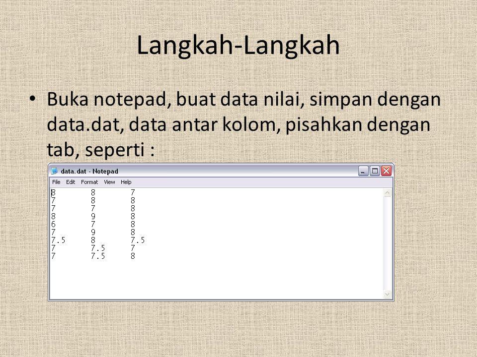 Langkah-Langkah Buka notepad, buat data nilai, simpan dengan data.dat, data antar kolom, pisahkan dengan tab, seperti :