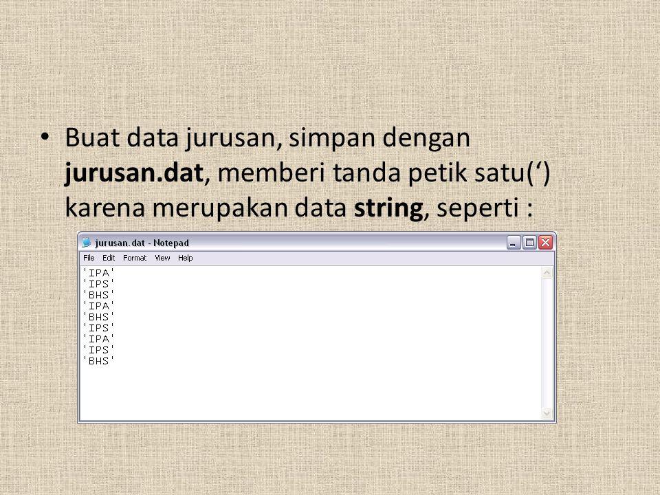 Buat data jurusan, simpan dengan jurusan.dat, memberi tanda petik satu(') karena merupakan data string, seperti :