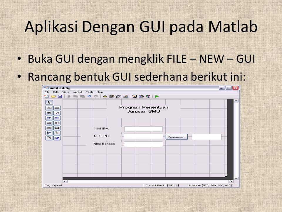 Aplikasi Dengan GUI pada Matlab Buka GUI dengan mengklik FILE – NEW – GUI Rancang bentuk GUI sederhana berikut ini: