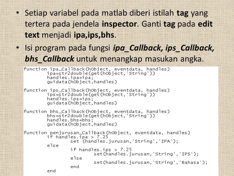 Setiap variabel pada matlab diberi istilah tag yang tertera pada jendela inspector.