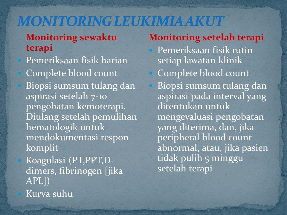 Monitoring sewaktu terapi Pemeriksaan fisik harian Complete blood count Biopsi sumsum tulang dan aspirasi setelah 7-10 pengobatan kemoterapi. Diulang