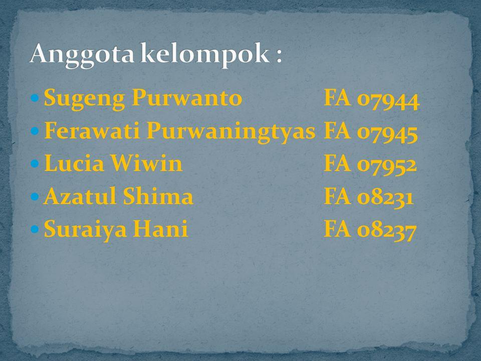 Sugeng Purwanto FA 07944 Ferawati Purwaningtyas FA 07945 Lucia Wiwin FA 07952 Azatul Shima FA 08231 Suraiya Hani FA 08237