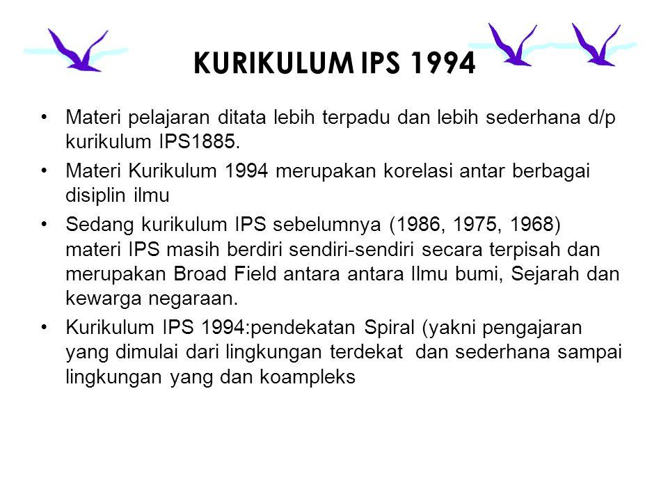 KURIKULUM IPS 1994 Materi pelajaran ditata lebih terpadu dan lebih sederhana d/p kurikulum IPS1885. Materi Kurikulum 1994 merupakan korelasi antar ber