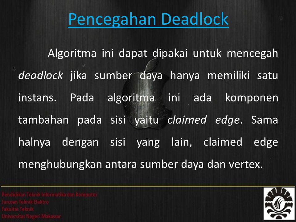 Pencegahan Deadlock Algoritma ini dapat dipakai untuk mencegah deadlock jika sumber daya hanya memiliki satu instans.