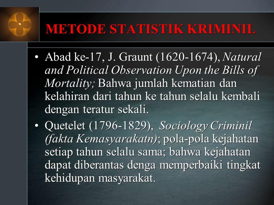 METODE STATISTIK KRIMINIL Abad ke-17, J. Graunt (1620-1674), Natural and Political Observation Upon the Bills of Mortality; Bahwa jumlah kematian dan