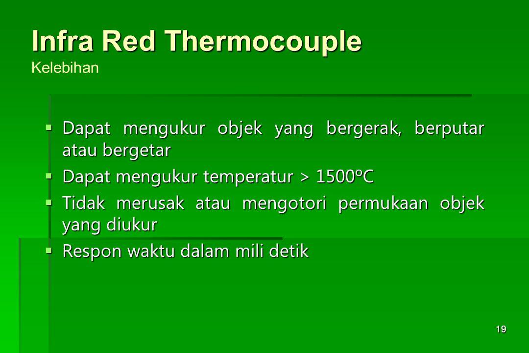 19 Infra Red Thermocouple Infra Red Thermocouple Kelebihan  Dapat mengukur objek yang bergerak, berputar atau bergetar  Dapat mengukur temperatur >