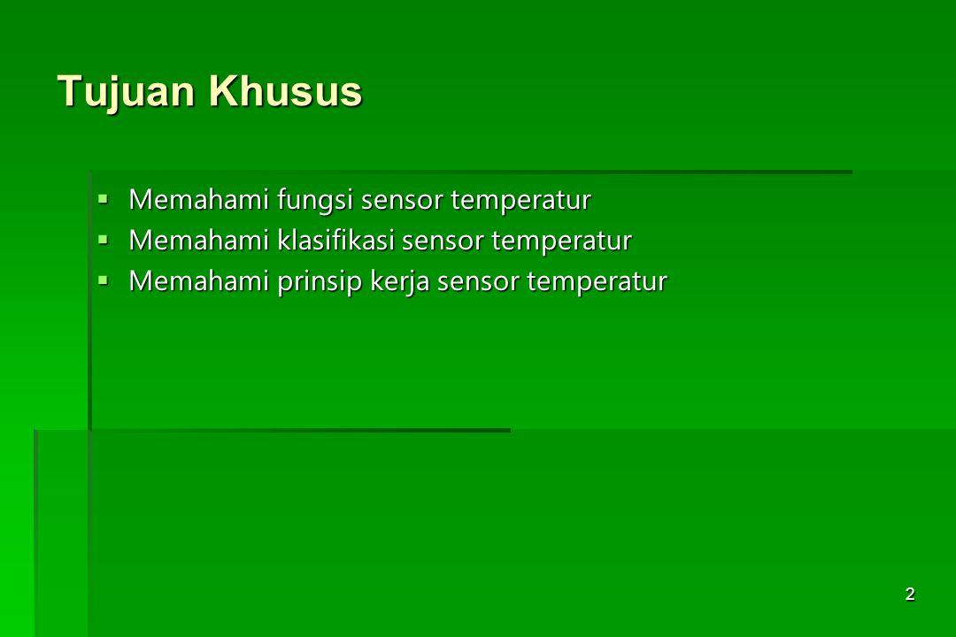 13 Thermistor  Thermistor = Thermal Resistor  Sensor temperatur berdasarkan perubahan resistansi semikonduktor terhadap temperatur