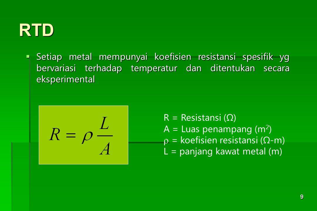 9 RTD  Setiap metal mempunyai koefisien resistansi spesifik yg bervariasi terhadap temperatur dan ditentukan secara eksperimental R = Resistansi (Ω)