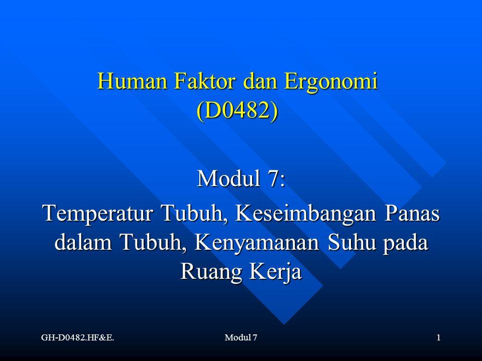 GH-D0482.HF&E.Modul 71 Human Faktor dan Ergonomi (D0482) Modul 7: Temperatur Tubuh, Keseimbangan Panas dalam Tubuh, Kenyamanan Suhu pada Ruang Kerja