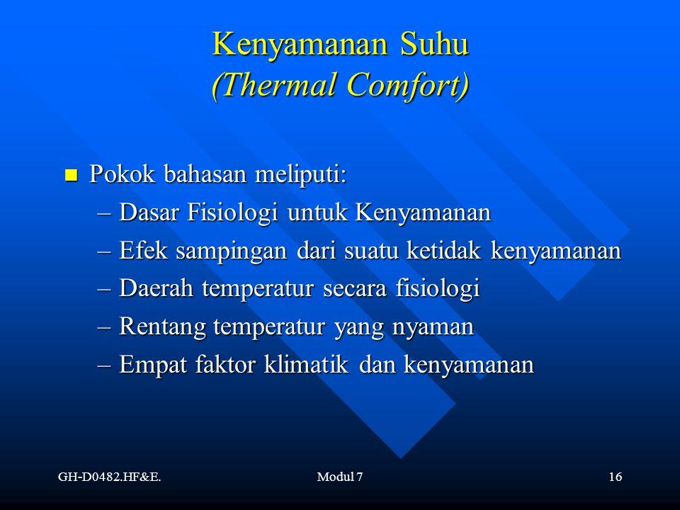 GH-D0482.HF&E.Modul 716 Kenyamanan Suhu (Thermal Comfort) Pokok bahasan meliputi: Pokok bahasan meliputi: –Dasar Fisiologi untuk Kenyamanan –Efek samp