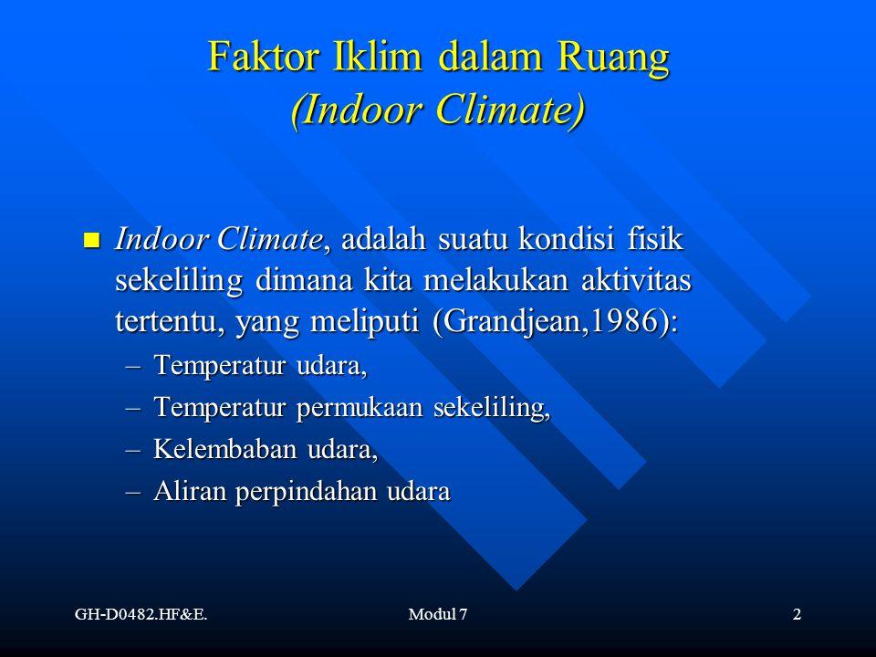 GH-D0482.HF&E.Modul 72 Faktor Iklim dalam Ruang (Indoor Climate) Indoor Climate, adalah suatu kondisi fisik sekeliling dimana kita melakukan aktivitas
