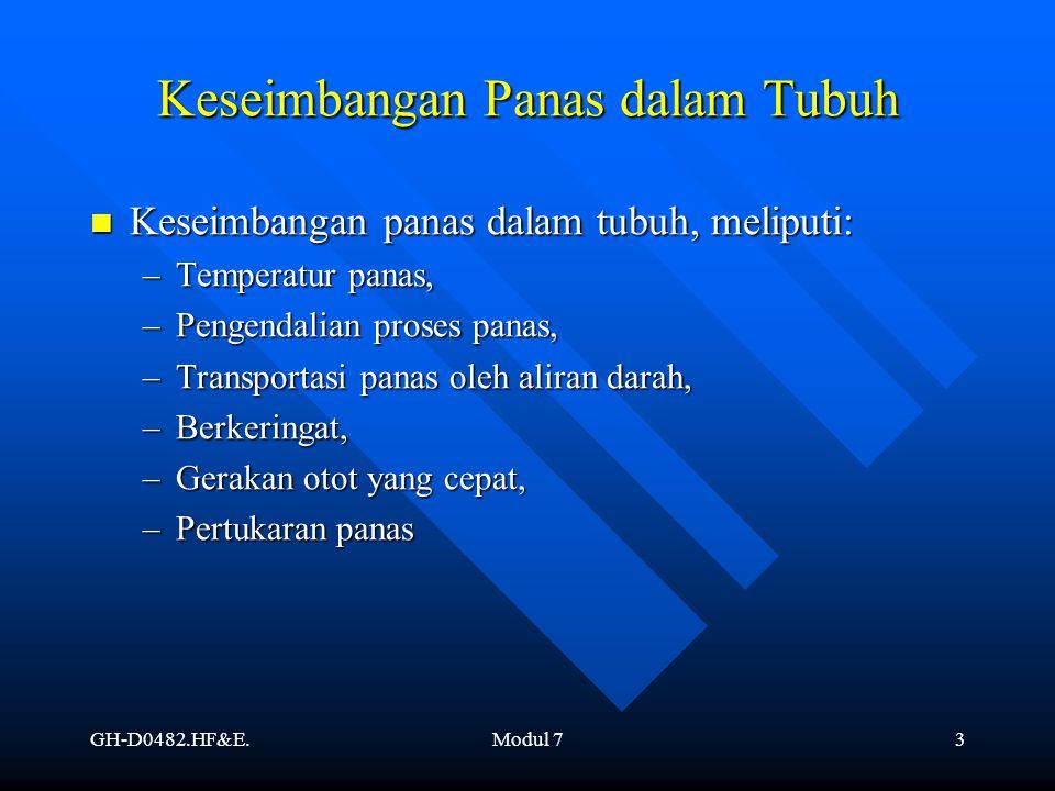 GH-D0482.HF&E.Modul 73 Keseimbangan Panas dalam Tubuh Keseimbangan panas dalam tubuh, meliputi: Keseimbangan panas dalam tubuh, meliputi: –Temperatur