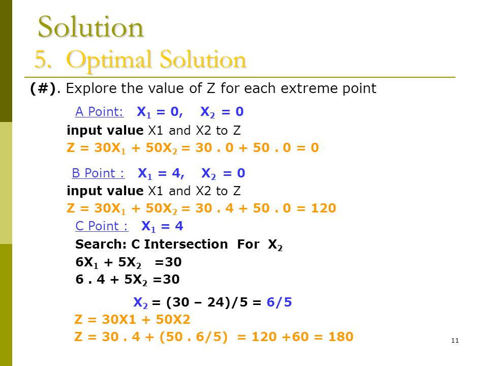 11 Solution 5.Optimal Solution (#).