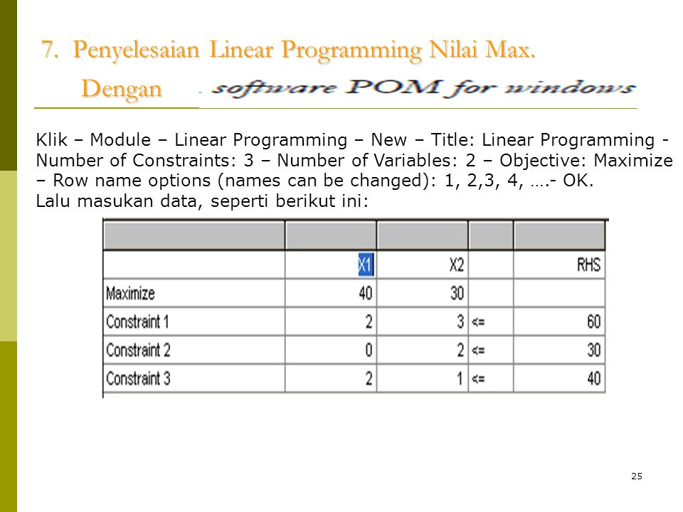 25 7. Penyelesaian Linear Programming Nilai Max. Dengan Klik – Module – Linear Programming – New – Title: Linear Programming - Number of Constraints: