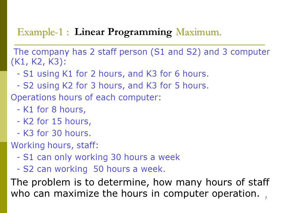 28 Contoh 1 : Minimum.Contoh 1 : Linear Programming Minimum.