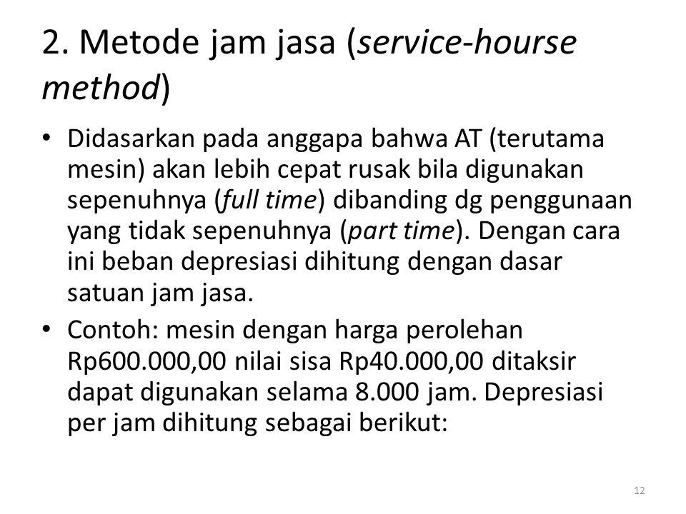 2. Metode jam jasa (service-hourse method) Didasarkan pada anggapa bahwa AT (terutama mesin) akan lebih cepat rusak bila digunakan sepenuhnya (full ti
