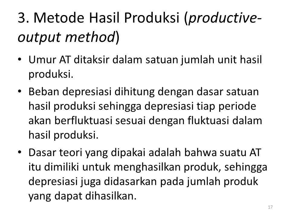3. Metode Hasil Produksi (productive- output method) Umur AT ditaksir dalam satuan jumlah unit hasil produksi. Beban depresiasi dihitung dengan dasar