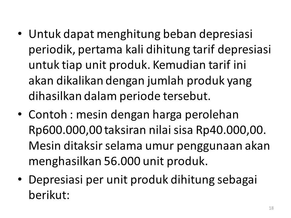 Untuk dapat menghitung beban depresiasi periodik, pertama kali dihitung tarif depresiasi untuk tiap unit produk. Kemudian tarif ini akan dikalikan den